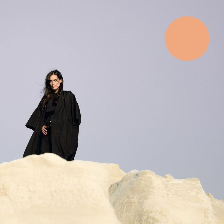 Photo shows Lea standing at the top of an hill, the sun is in the background and everything looks sort of illustrated